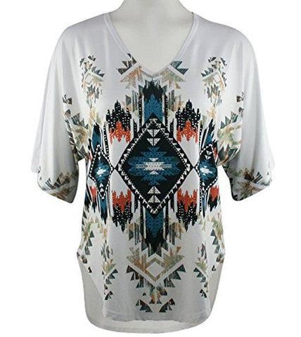 Big Bang Clothing - Southwest Designs, Short Sleeve, V-Neck Rhinestone Print Top