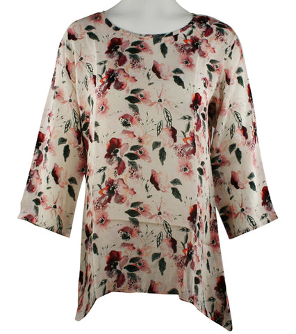 APNY Apparel Colored Leaves, Scoop Neck, Floral Print Lightweight Tunic Top