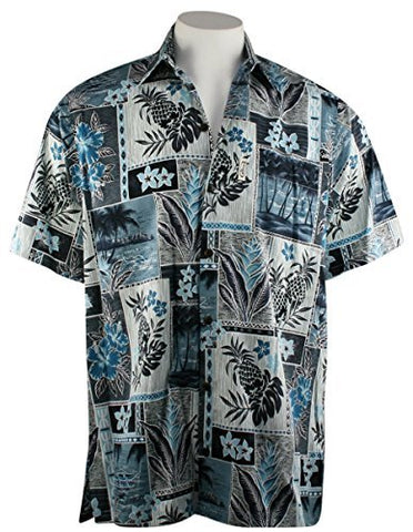 Go Barefoot Pineapple Blocks Banded Collar Classic Hawaiian Shirt Side Vents & Coconut Button