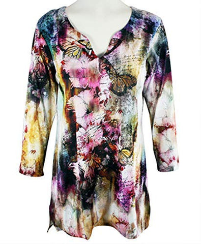 Impulse California - Pink Lilly, 3/4 Sleeve, Split V-Neck, Floral Pattern Tunic Top