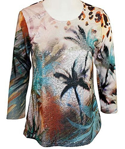 Impulse California - Tropicana Breeze, Sequin Front, 3/4 Sleeve Scoop Neck Top