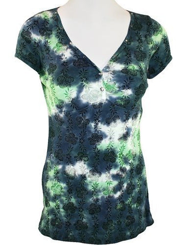 IDI Fashion - 3/4 Sleeve, V-Neck Women's Side Burst Tie Dyed Fashion Top