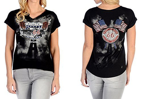 Liberty Wear Flying Route 66, V-Neck, Short Sleeves, Rt. 66 Themed Black Top