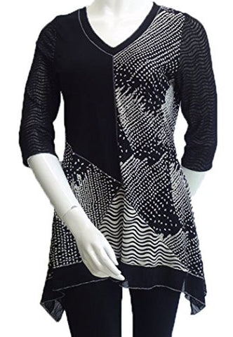 Lior Paris - Patchwork, Black & White Tunic, Asymmetric Hem, Trimmed V-Neck