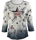 Cactus Fashion - Stars & Stripes II, 3/4 Sleeve, Cotton Print Rhinestone Top