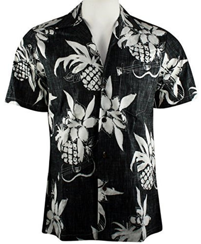 RJC Hawaii Fruit Leaves Ukulele, Classic Hawaiian Button Front Reverse Print Cotton Shirt