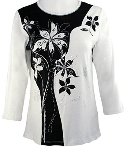 Cactus Fashion - Solid Flower, 3/4 Sleeve Scoop Neck Cotton Print Rhinestone Top