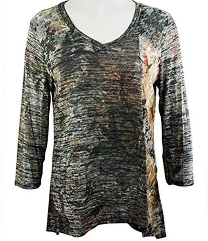 Cubism - Icat Shadow, Hi-Low Tunic Top, Multi-Colored Print with Style Seams