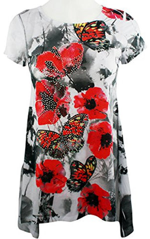 Big Bang Clothing - Melody Butterfly, Sharkbite Hem Scoop Neck Rhinestone Top