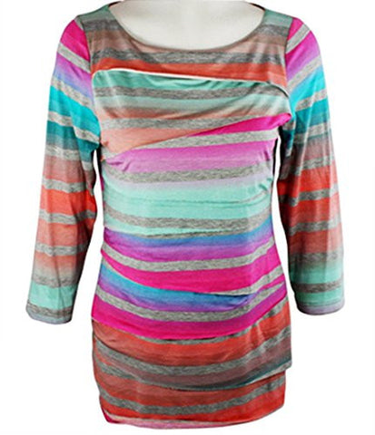 Boho Chic - Multi Stripes, Long Sleeve Scoop Neck Horizontal Layered Tunic Top