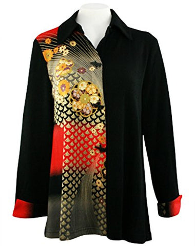 Moonlight - Asian Peacock, Geometric Print Trimmed Long Sleeve, Button Front Top