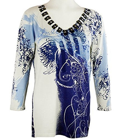 Orly Clothing - Blue Dazzle, Gemstone Accented Collar, White/Periwinkle Colored