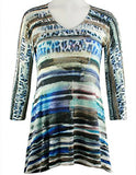 Cubism Apparel - Friday Lights, 3/4 Sleeve, V-Neck Woman's Fashion Tunic Top