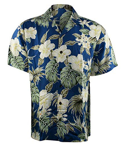 Kalaheo RJC White Hibiscus Single Pocket Classic Button Front Casual Hawaiian Shirt