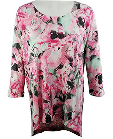 Nally & Millie - Floralscape, Scoop Neck Floral Tunic Top on a 3/4 Sleeve Body