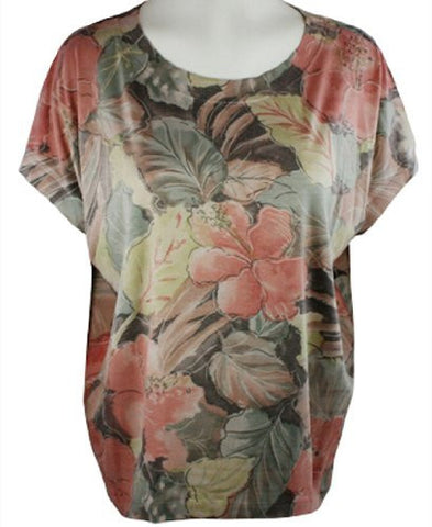 Nally & Millie - Multi Floral, Scoop Neck Woman's Top on a Short Sleeve Body