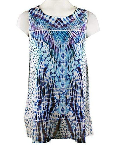 Impulse California - Blue Fusion, Sleeveless, Lace Detailing Tunic Tank Top