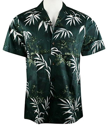 RJC Hawaii White Fronds, Single Pocket, Classic Hawaiian Button Front Tropical Cotton Shirt