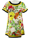 Isabel Clothing - Flower Power, Short Sleeve Hem & Neckline Trimmed Floral Print