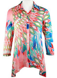 Boho Chic - Diamond Patterns, Long Sleeve Hi-Lo Hem Lightweight Knit Tunic Top
