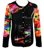 Zoe - Color Patches, Long Trimmed Sleeve Scoop Neck Button Front Womens Cardigan