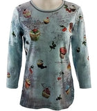 Cactus Fashion - Cupcake, 3/4 Sleeve, Womens Cotton Print Rhinestone Top