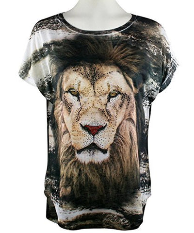 Big Bang Clothing - Shimmering Lion, Cap Sleeve, Scoop Neck Rhinestone Print Top