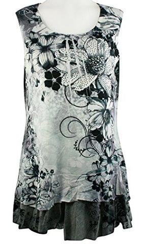 Creation - Black & White Flowers, Ruffled Hem Floral Print Tunic Top