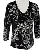Alison Sheri - Vines, 3/4 Sleeve, V- Neck, Contemporary Top in a Floral Pattern