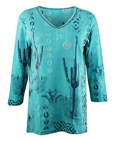 Cactus Bay - Sonoran Scene, 3/4 Sleeve, V-Neck, Southwest Theme Cotton Top