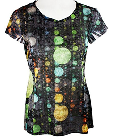 Clotheshead - Rising Bubbles, Cap Sleeve, Burnout Accents, Scoop Neck Fashion Top