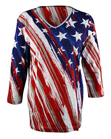 Cactus Bay - Stars & Stripes, 3/4 Sleeve Rhinestone Accented Cotton Patriotic Top