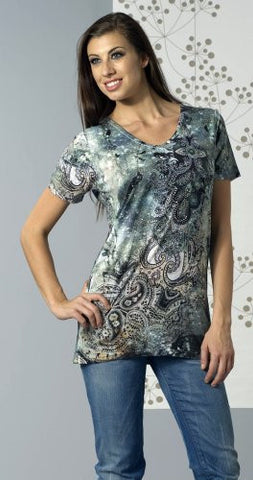 Bacci Clothing - Zena, Rhinestones, Sublimation, Short Sleeve Crew Neck Top