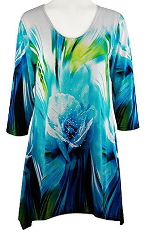 Valentina Signa - Blue Floral, 3/4 Sleeve V-Neck Print Rhinestone Highlights