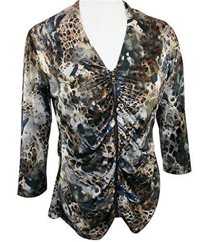 Boho Chic, V-Neck Collar, Shirred Zip Front, Gold Foiled Fashion Top - Jungle Beauty