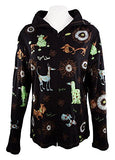Cactus Fashion - Dog & Ornament, Cotton Print Rhinestone Hoodie Top