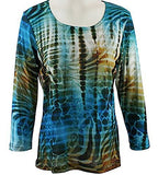 Impulse California - Teal Stripe, Rhinestone Embellished, Scoop Neck Top on a Body