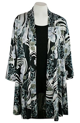 Caribe - Leopard Flower, Floral Animal Print, Long Sleeve Jacket - Duster