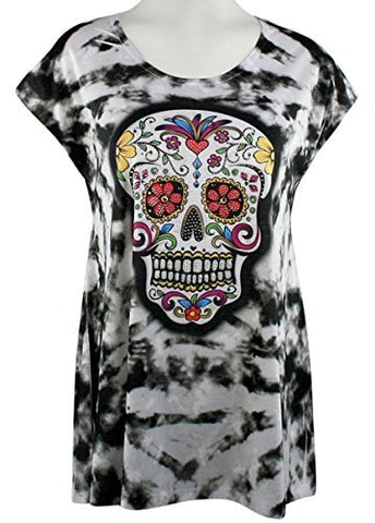 Big Bang Clothing - Sugar Skull, Cap Sleeve, Scoop Neck, Rhinestone Print Top
