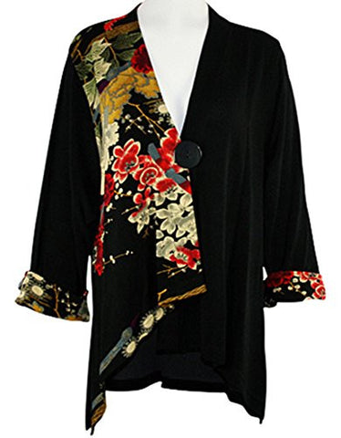 Moonlight - Asian Garden Sharkbite Hem Side & Sleeve Accented Asian Themed Top