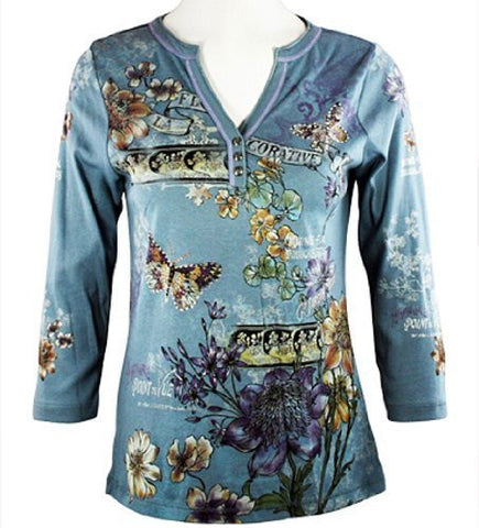 Cactus Fashion - Playful Butterflies, Rhinestones, Glacier Blue Top