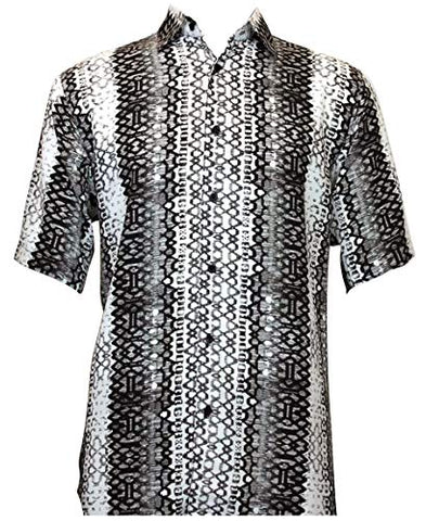 Bassiri Diamonds Short Sleeve Square Hem Black & White Geometric Print Shirt