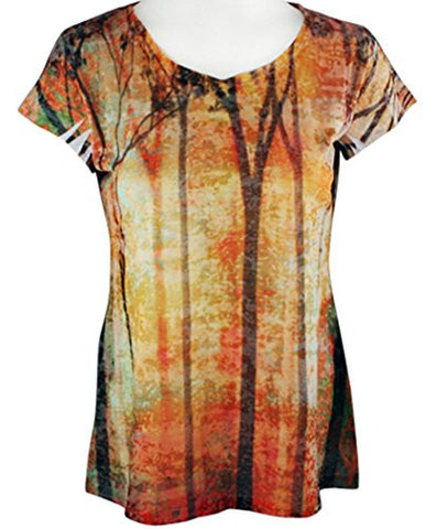 Clotheshead - Forest View, Cap Sleeve, Burnout Accents, Scoop Neck Fashion Top