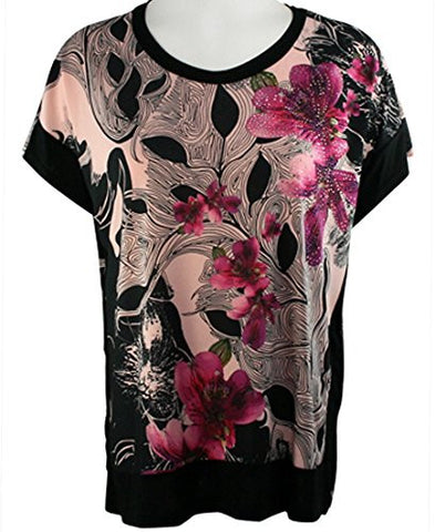 Cactus Fashion - Raspberry Petals, Short Sleeve, Color Block Rhinestone Top