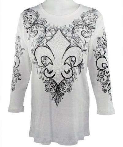 Cactus Fashion - Fleur De Lis, 3/4 Sleeve, Scoop Neck Cotton Print Rhinestone Top