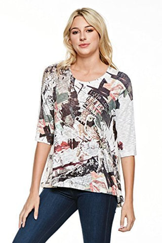 Inoah - Free Bird, 3/4 Sleeve Hi Lo A-Line Hem Wearable Art colorful Printed Top