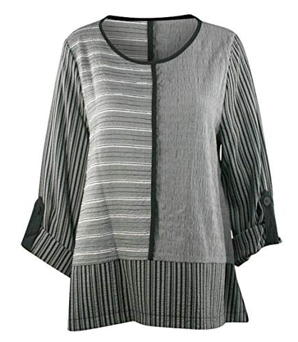 Moonlight - 3/4 Cuffed Sleeve Asian Style Scoop Neck Pullover Fashion Tunic Top