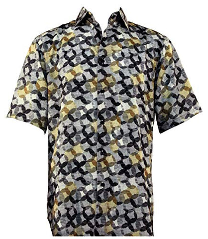 Bassiri Circle Dance Button Front Short Sleeve Square Hem Multicolor Men's Shirt