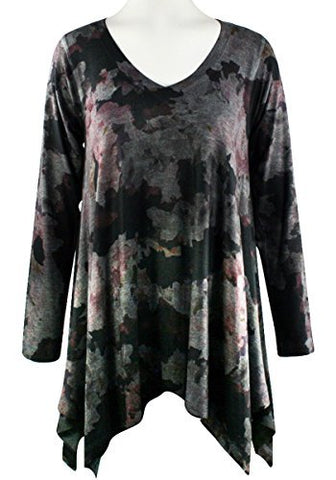 Nally & Millie Fall Collage, V-Neck, Long Sleeve Asymmetric Hem Printed Tunic
