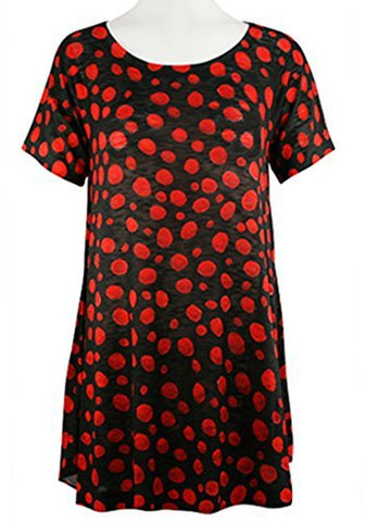 Nally & Millie - Red Dots, Scoop Neck Short Sleeve Lightweight Knit Tunic Top